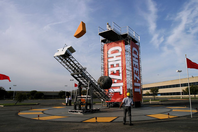 Cheez-It Launcher: 3D Design, Metal Fabrication, Mechanical Effects, Hydraulics, CNC Machining, Foam Casting & Scenic Paint.