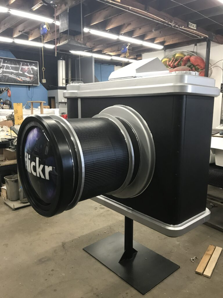 Oversized Camera for Flikr: CNC Milling, Vacuumforming, Printing & Carpentry.