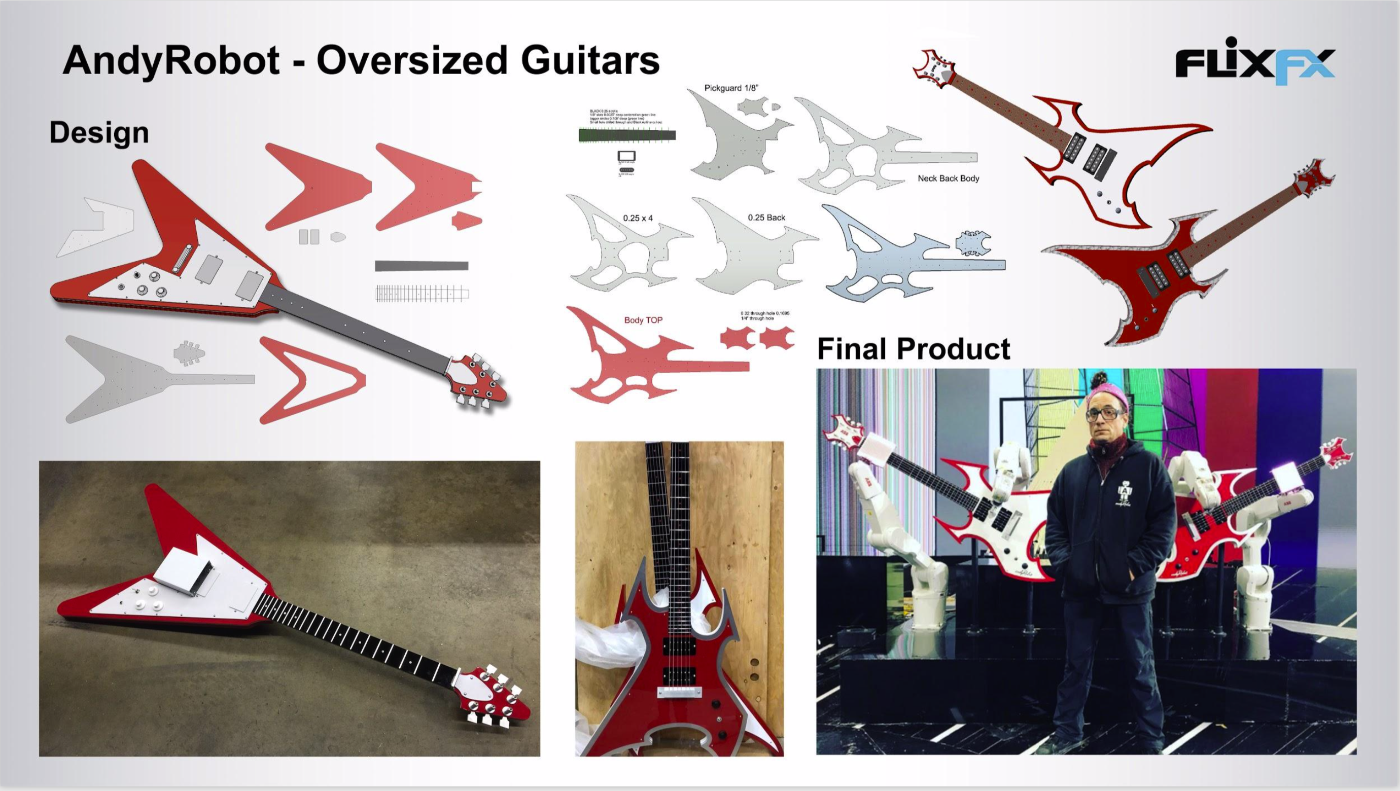 Oversized Guitars: CNC Milling Acrylic, Manual Machining, Plasma Cam, Metal Fabrication & Model Making.