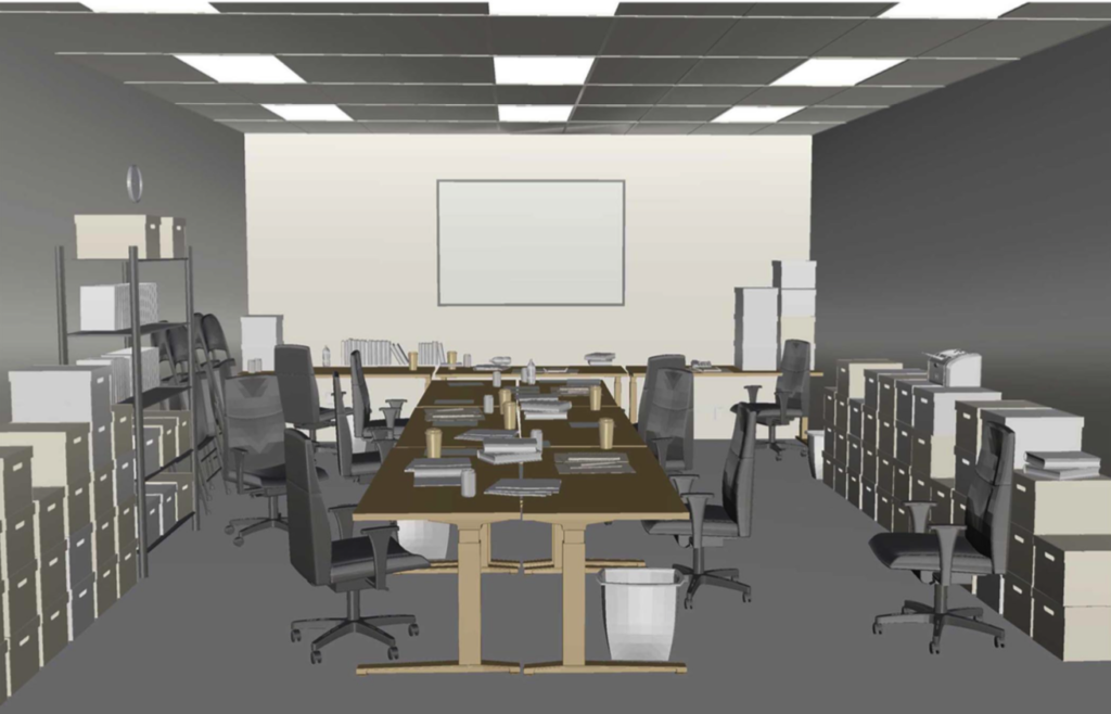 Commissioned Art: Concept render of conference room diorama